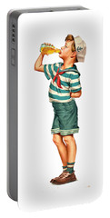 Portable Battery Charger featuring the digital art Drink Up Sailor by ReInVintaged