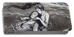 Drowned Man Being Assisted By A Mermaid Portable Battery Charger