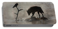 Druid Wolf And Raven Silhouette Portable Battery Charger