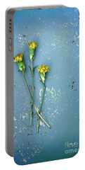 Portable Battery Charger featuring the photograph Dry Flowers On Blue by Jill Battaglia
