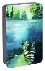 Portable Battery Charger featuring the painting Duality by Anil Nene