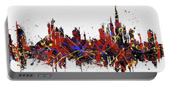Portable Battery Charger featuring the painting Dubai Colorful Skyline by Dan Sproul