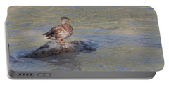 Duck Alone On The Rock Portable Battery Charger