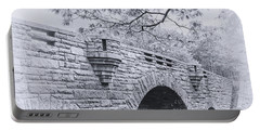 Duck Brook Bridge In Black And White Portable Battery Charger