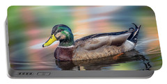 Duck In Water With Autumn Colors Portable Battery Charger