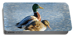 Duck Pair On Frozen Lake Portable Battery Charger