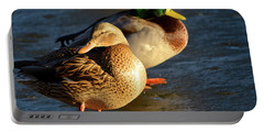 Duck Pair Sunbathing On Frozen Lake Portable Battery Charger