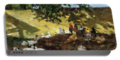 Ducks And Chickens In A Farmyard Portable Battery Charger