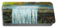 Portable Battery Charger featuring the painting Ducks And Waterfall by Michael Daniels