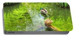Portable Battery Charger featuring the pyrography Ducks In The Pond by Yury Bashkin