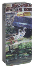 Portable Battery Charger featuring the painting Ducks On Dockside by Martin Davey