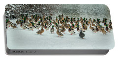 Ducks Pond In Winter Portable Battery Charger