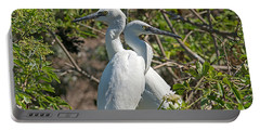 Dueling Egrets Portable Battery Charger by Kenneth Albin