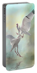 Duelling White Ibises Portable Battery Charger