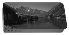 Duffey Lake And Mount Rohr British Columbia Canada Black White Portable Battery Charger