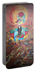 Portable Battery Charger featuring the painting Duke At Sunset by Marie Schwarzer