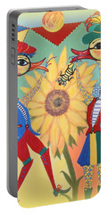 Portable Battery Charger featuring the painting Duke Have A Honey-bee by Marie Schwarzer