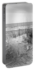 Dune - Black And White Portable Battery Charger by Angela Rath