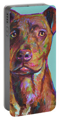Portable Battery Charger featuring the painting Dutch, The Brindle Mix by Robert Phelps