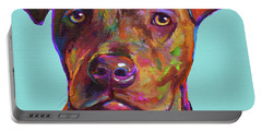 Portable Battery Charger featuring the painting Dutch, The Pit Bull Pup by Robert Phelps