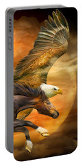 Portable Battery Charger featuring the mixed media Eagle And Horse - Spirits Of The Wind by Carol Cavalaris