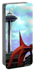 Portable Battery Charger featuring the photograph Eagle And Space Needle Seattle by Yulia Kazansky