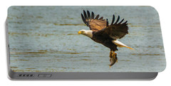 Portable Battery Charger featuring the photograph Eagle Departing With Prize Close-up by Jeff at JSJ Photography