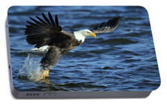 Portable Battery Charger featuring the photograph Eagle Fish Grab by Coby Cooper
