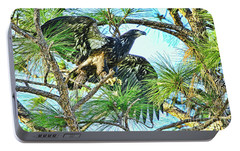 Portable Battery Charger featuring the photograph Eagle Fledgling 2017 by Deborah Benoit