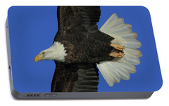 Portable Battery Charger featuring the photograph Eagle Flying Closeup by Coby Cooper