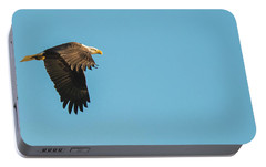 Portable Battery Charger featuring the photograph Eagle In Flight Panoramic by Jeff at JSJ Photography