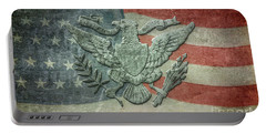 Portable Battery Charger featuring the digital art Eagle On American Flag by Randy Steele