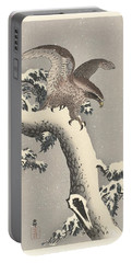 Portable Battery Charger featuring the painting Eagle On Snowy Pine by Ohara Koson
