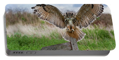 Eagle Owl On Signpost Portable Battery Charger