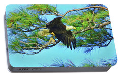 Portable Battery Charger featuring the painting Eagle Series Food by Deborah Benoit