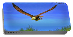 Portable Battery Charger featuring the photograph Eagle Series Through The Trees by Deborah Benoit