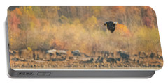 Portable Battery Charger featuring the photograph Eagle With Fish And Foliage by Jeff at JSJ Photography
