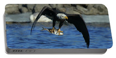 Eagle With Fish Flying Portable Battery Charger by Coby Cooper