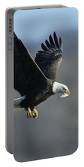 Eagle With Small Fish Portable Battery Charger by Coby Cooper