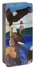 Portable Battery Charger featuring the painting Eagles by Donald J Ryker III