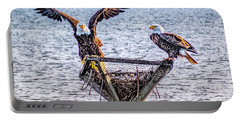 Portable Battery Charger featuring the photograph Eagles In Blackwater Refuge by Nick Zelinsky