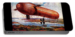 Portable Battery Charger featuring the painting Early 1900s Military Airship by Peter Gumaer Ogden