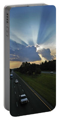 Early Evening Crepuscular Rays Over I-85 Portable Battery Charger