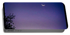 Early #evening #waxingcrescentmoon And Portable Battery Charger