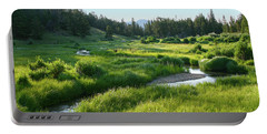 Portable Battery Charger featuring the photograph Early Morning Along The Stream by Marie Leslie