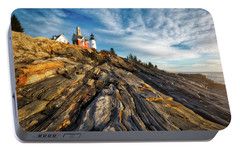 Portable Battery Charger featuring the photograph Early Morning At Pemaquid Point by Darren White