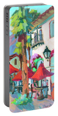 Portable Battery Charger featuring the painting Early Morning Coffee In Old Town La Quinta 2 by Diane McClary