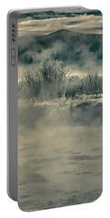 Portable Battery Charger featuring the photograph Early Morning Frost On The River by Don Schwartz