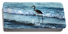 Early Morning Heron Beach Walk Portable Battery Charger