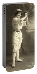 Early Portrait Of A Woman Baseball Player Portable Battery Charger